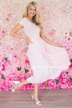 Blush Tie Waist Modest Dress | Best Place To Buy Modest Dress Online | Modest Dresses and Skirts for Church - Neesee's Dresses Modest Skirts, Modest Outfits, Summer Outfits, Bridesmaid Dresses With Sleeves, Blush Dresses, Lace Dress, Dress Up, Chiffon Skirt, Character Outfits