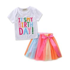 """JIANLANPTT Summer Baby Kids Girls Oufits Set Tutu Dress Letters Printed Shirt Colorful Bow Skirt White 130(6-7Years). It's my birthday"""" Colorful Letter Print Short Sleeve T Shitrt. Cute Rainbow Bow Tulle Tutu Skirt Outfit Set for Girls Birthday. Birthday Party Kids Girls 2Pcs Clothes Set. Package include:1 *Kids Girls tutu dress set. A perfect gift boutique for your little girls on her birthday party!also summer daily life,phote,holiday dress."""