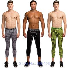 >> Click to Buy << Mens compression 3/4 pants jogger tights fitness pants skinny leggings trousers #Affiliate
