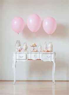 Simple, beautiful dessert table in pink and white