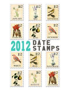 Postage Date Stamp Word Art + Printable