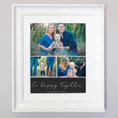 We want you to do more with your photos and celebrate your family's treasured moments. This stunning Be Happy Together Photo Collage captures those moments so it can be hung pride of place in your home on either a beautiful frame or canvas. Family Photo Frames, Family Photos, Picture Frames, We The Best, Personalized Wall Art, Happy Together, Photo Wall Collage, New Baby Gifts, New Baby Products