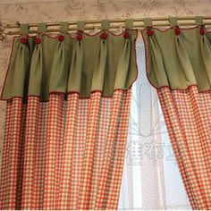 England Style Red Plaid Country Cotton Curtains (Two Panels), Buy Brick Red Print Lined Curtains, Cheap Cotton Curtains Sale