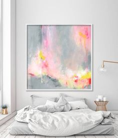 "Large wall art of acrylic painting, abstract painting print ""Hooponopono 02"", large art prints, modern Abstract Art in grey and pink"