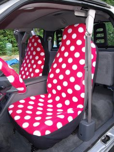 1 Set of Red with White Dots Print Car Seat Covers and  Steering Wheel Cover Custom Made.