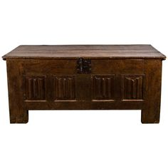 A French Oak Linen-fold Panelled Coffer, 15th Century  HEIGHT:31 in. (79 cm) WIDTH:5 ft. 8 in. (173 cm) DEPTH:24.5 in. (62 cm) DEALER LOCATION:New York, NY  From a unique collection of antique and modern blanket chests at https://www.1stdibs.com/furniture/storage-case-pieces/blanket-chests/