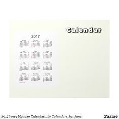 2017 Ivory Holiday Calendar by Janz Notepad