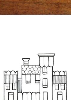 original illustration 'street' houses in black by lightboxing