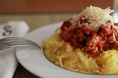 Spaghetti Squash with Turkey Sausage Pomodoro Sauce | WeeklyGreens.com