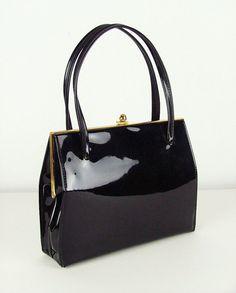 eb09434244 Black Patent 1960s Vintage Frame Handbag   Kelly Bag