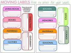 Moving Box Labels Free moving box by iHanna.Free moving box by iHanna. Moving Day, Moving Tips, Moving House, Moving Hacks, Printable Labels, Free Printables, Labels Free, Free Moving Boxes, Moving Labels