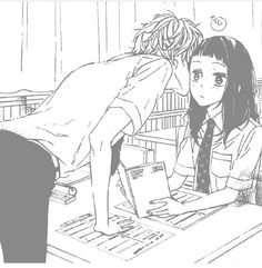 Cute anime couple kiss. If that was me in class. I'd blush like mad
