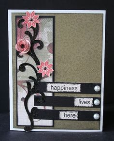 CTMH card with flowers on side border