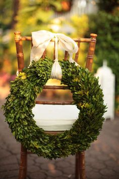 The Vault: Curated & Refined Wedding Inspiration : Christmas boxwood wreath All Things Christmas, Christmas Holidays, Christmas Wreaths, Christmas Crafts, Christmas Decorations, Holiday Decor, Christmas Chair, Christmas Greenery, Winter Wreaths