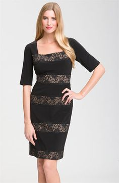 Adrianna Papell Banded Lace Jersey Sheath Dress available at Nordstrom