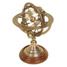 """Check out this item at One Kings Lane! 11"""" Brass Armillary Globe"""