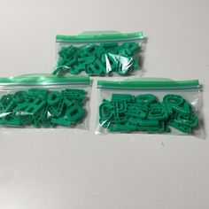 LOT OF 3 SPANISH ALPHABET UPPERCASE SOLID GREEN PLASTIC LETTERS