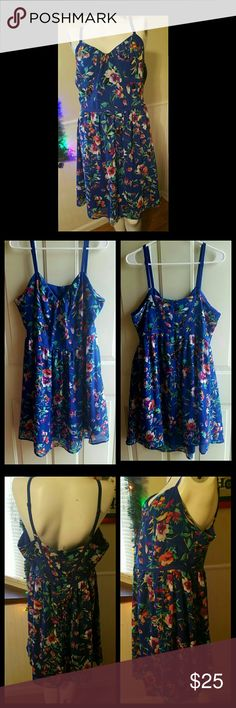 "Flirty in Floral Blue dress with flowers. Adjustable straps. Zipper in the back. Size chart in last photo. Gently worn. Has a lining. 100% polyester. Empire style waist.   Additional Measurements: Inseam length 29"" Nicole Miller Dresses"