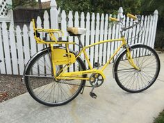Vintage 1973 Rare Yellow Schwinn Speedster Mens bicycle With Childs Seat