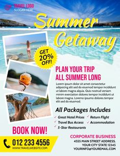 summer travel flyers, summer travel advertising flyers, summer travel vacation packages, summer traveling flyer templates, summer vacation ads. Business Flyers, Corporate Business, Advertising Flyers, Ads, 5 Star Restaurants, Travel Logo, Great Hotel, City State, Vacation Packages