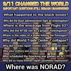 Mmmwmm What happened to xhe black boxes? Why did (he Bush administration fight an investigation? Where IS lhe video of a plâe hitting lhe Pentagon? Why did World Trade Cent why did so many firemen 911 Conspiracy, Conspiracy Theories, Illuminati Conspiracy, 11 September 2001, Cognitive Dissonance, Inside Job, World Trade Center, Pentagon, Science