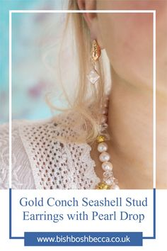 These fluid gold plated conch seashell shaped stud earrings will have you dreaming of summer days. Choose a coin, biwa, or diamond shaped pearl drop.