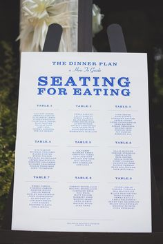 Seating Plan Idea, I love how this indicates that the seating plan is only for dinner