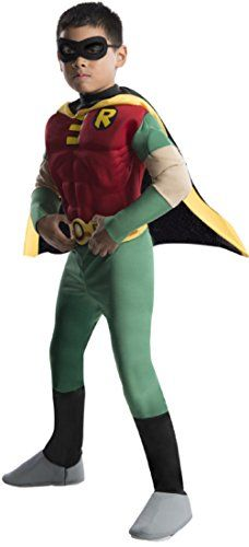 Rubies DC Comics Teen Titans Deluxe Muscle Chest Robin Costume, Small >>> Check this awesome image @…