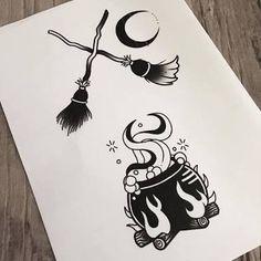 #tattoo #blackwork #vassoura #lua #caldeirão #witch #bruxa #bruxaria
