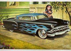 Hot Rod Tattoo, Litho Print, Chicano Art, Blue Flames, Pedal Cars, Kustom, Hot Rods, Pin Up, Copper