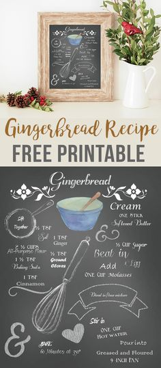 Free Gingerbread Recipe Printable