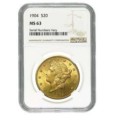 1904 $20 Liberty Head Gold Double Eagle Coin NGC MS 63