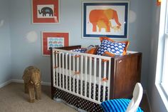 #Elephants in #blue and #orange - great pattern mixes in this #nursery.