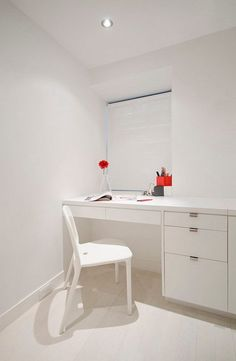Study Nook At Bedroom Decotaed Under White Show Chair Also Desk University Place Studiolab Among Red Accent Flower