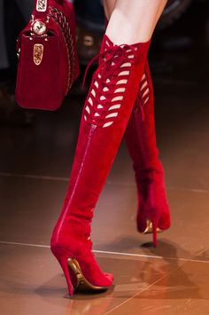 Versace Fall 2014- Those are what I call Kinky Boots!! RED!