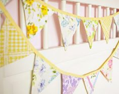 Yellow Bunting / Wedding Decoration / Fabric Bunting Banner /