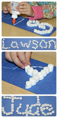 Winter Crafts for Kids - Marshmallow Names This marshmallow craft is so simple to make, and it teaches children important early learning concepts. Make some marshmallow names with your kids today. Preschool Names, Preschool Lessons, Preschool Classroom, Preschool Art, In Kindergarten, Preschool Winter, Childrens Crafts Preschool, January Preschool Themes, Preschool Writing