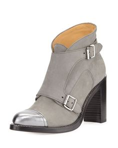 Mrs. Colin Suede Double-Monk Boot, Gray/Silver by The Office of Angela Scott at Neiman Marcus.