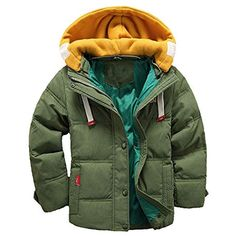 Hattfart ids Winter Latest Thicken Hooded Jacket Warm Quilted Coat Casual  Outdoor Cool Cute for Boys Girls Autumn Spring Green) Best Winter Coats for  Women ... afd727c5acb