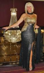 Black and Gold Sequin Evening Dress