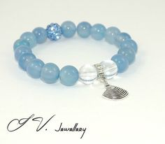 Agate & Crystal Seashell Bracelet Luxury Gift Baby by IvJewellery