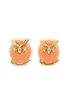 Peachy Owl Earrings