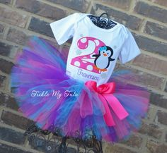 "Penguin Themed Winter ONEderland ""Francesca"" Birthday Tutu Outfit...www.ticklemytutu.com"