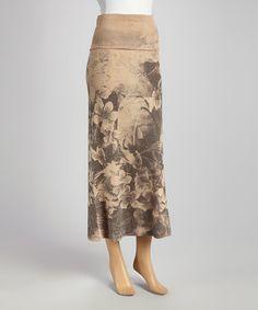 Look what I found on #zulily! Brown & Black Floral Maxi Skirt #zulilyfinds