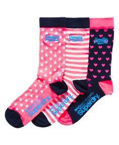 Superdry Fluro Pink Socks Triple Pack