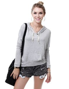 Casual Thin Drawstring Pull Over Hoodie With Kangaroo Pocket #11foxy