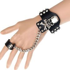 Punk Gothic Skeleton Skull Rock Rivet Chain Link Ring Cuff Leather Bracelet