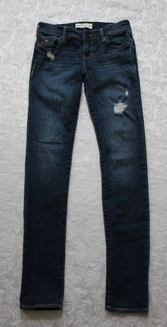 Abercrombie Kids girls 14 Slim distressed skinny blue jeans medium wash EUC #AbercrombieKids #SlimSkinny #Everyday