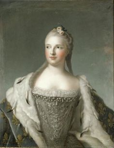 Marie-Josèphe de Saxe, dauphine (18th century) by an unknown artist after Jean-Marc Nattier. Maria Josepha of Saxony (1731 –  1767) was a Duchess of Saxony and the Dauphine of France. She became Dauphine at the age of fifteen through her marriage to Louis de France, the son and heir of Louis XV. Marie Josèphe was the mother of three kings of France. Empress Maria Theresa's 1st cousin.