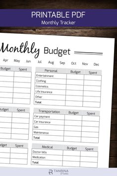 Monthly Budget Planner Printable, Finance Money Tracker, Spending Expense Tracker, Personal Home Organizer, Home Management PDF Planner Monthly Budget Printable, Monthly Budget Planner, Printable Planner, Monthly Expenses, Printables, Planner Template, Create A Budget, Diy On A Budget, Sample Budget